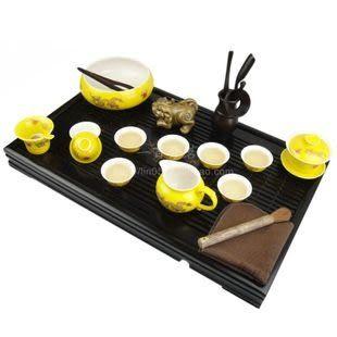 雕刻實木茶盤 黃金龍茶具