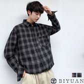 【OBIYUAN】格紋襯衫 寬鬆 日系撞色 長袖襯衫 共2色【FJD1832】