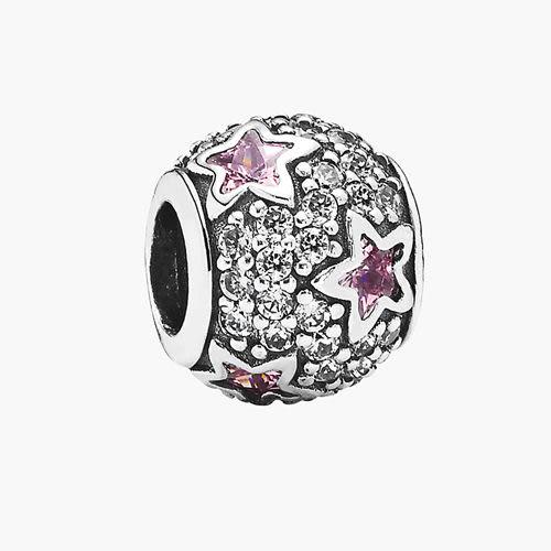 Pandora 潘朵拉丹麥時尚飾品 閃亮之星 粉紅星星鑽透明水鑽 串珠墜飾 925純銀手鍊手環 情人 禮物