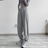 灰色運動褲女寬鬆束腳顯瘦百搭闊腿直筒休閒衛褲子