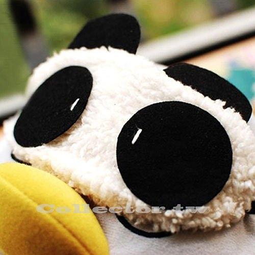 可愛熊貓眼罩 毛絨熊貓睡眠眼罩