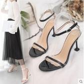 性感白色一字扣帶涼鞋2020新款夏季百搭高跟鞋細跟黑色女鞋仙女風 漾美眉韓衣
