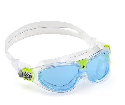 精品兒童蛙鏡 義大利名品 AQUA SPHERE Seal Kid 2 藍鏡白帶 抗UV 最受歡迎4-12歲