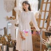 冬長裙 蕾絲打底內搭洋裝女秋冬季新款超仙女冬裙子溫柔風長裙加厚加絨S-L碼 2色