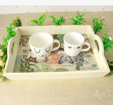 歐式托盤茶盤手繪長方形水果盤餐具餐盤水杯收納盤木質托盤