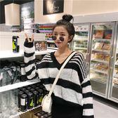 秋季女裝韓版學院風寬鬆條紋慵懶V領套頭針織衫學生長袖毛衣上衣  無糖工作室