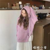 純色長袖寬鬆慵懶風連帽套頭衛衣女秋季2018新款韓版學生休閒上衣  嬌糖小屋