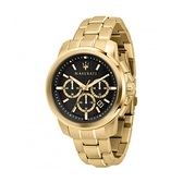 【Maserati 瑪莎拉蒂】ACTIVE POLO三眼鋼計時帶腕錶-土豪金/R8873621013/台灣總代理公司貨享兩年保固