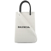 【BALENCIAGA】Logo牛皮壓鱷魚紋購物手機袋(白色) 593826 1U61N 9060
