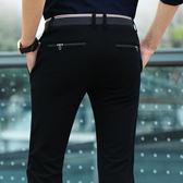 夏季薄款男士商務休閒褲修身韓版小腳褲子男長褲西裝褲男黑色褲潮  巴黎街頭