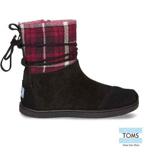 TOMS 皮繩格紋拼接雪靴-孩童款(10003264   BLACK)