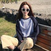 韓版百搭撞色簡約寬鬆長袖T恤