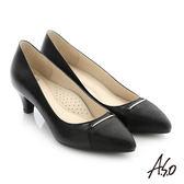 A.S.O 個性美型 細金屬條飾真皮質感高跟鞋-黑