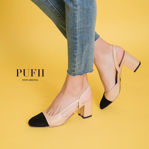 現貨 PUFII-涼鞋 小香風撞色麂皮繞踝粗跟涼鞋高跟鞋 0412 春【CP14384】