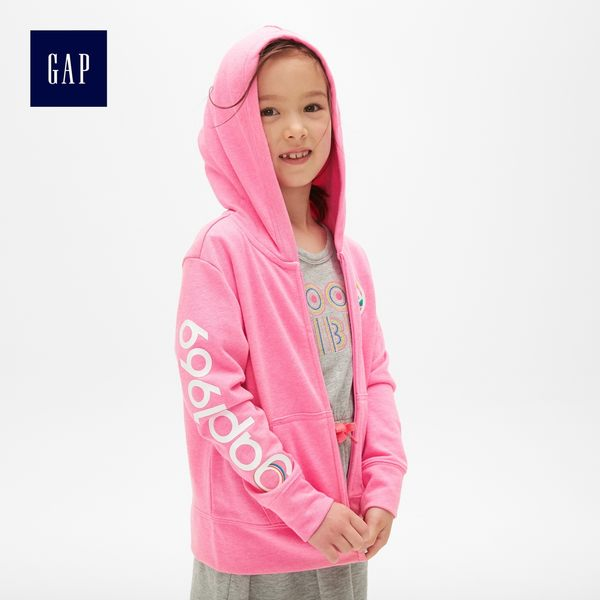 Gap女童 Logo連帽拉鏈外套 468323-嫩粉色