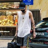 白色背心男打底衫潮牌街頭嘻哈寬鬆沙灘運動汗衫夏季無袖t恤坎肩