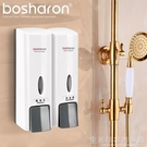 家用酒店衛生間壁掛手動皂液器 賓館雙頭洗發水沐浴露盒 皂液盒