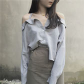 2018春季新款韓版氣質灰時尚吊帶露肩顯瘦長袖女襯衫上衣潮
