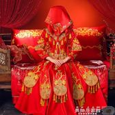 新娘頭紗 新娘中式刺繡紅蓋頭結婚用品頭帕巾婚慶頭紗婚禮喜帕【美物居家館】