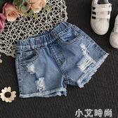 女童牛仔短褲破洞夏季5女孩6時尚8童裝9中大童10韓版12歲薄款熱褲【小艾新品】