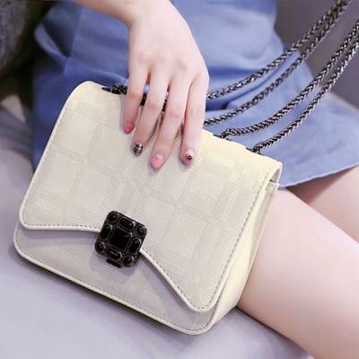 時尚壓花鏈條包精美鎖扣斜背包女包...2色...流行線
