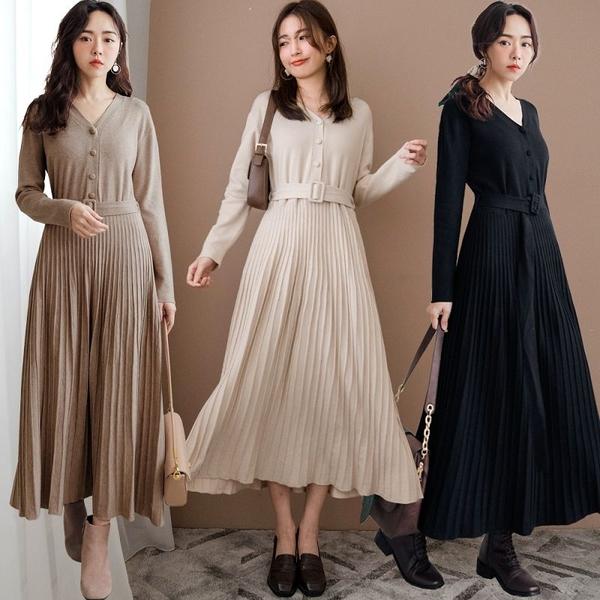 現貨-MIUSTAR 包布排釦立體坑條裙襬附腰帶柔軟針織洋裝(共3色)【NH3508】