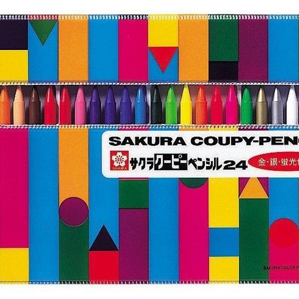 【日本製】【SAKURA】COUPY-PENCIL 不髒手彩色蠟筆 24色(一組:5個) SD-3701 - 日本製