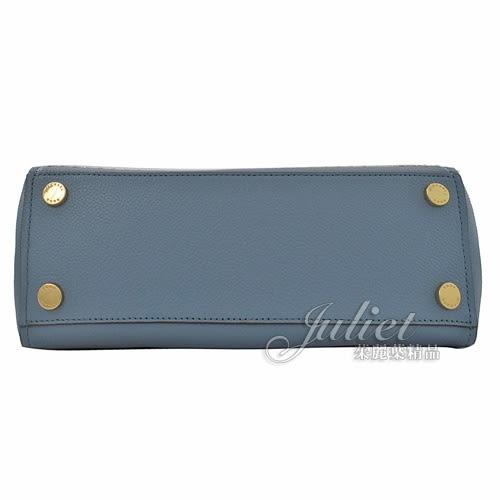 茱麗葉精品【均一價】MICHAEL KORS HAYES 鉚釘荔枝牛皮手提兩用包.水藍