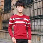 針織毛衣-圓領純色條紋休閒修身男針織衫3色73pg35【巴黎精品】