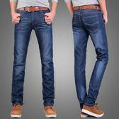商務青年單寧牛仔褲男直筒微修身休閒長褲子大碼寬鬆夏季薄