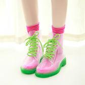 新款水晶果凍鞋糖果色平底馬丁雨靴時尚透明透視雨鞋百搭水鞋 sxx2172 【衣好月圓】