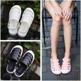 洞洞鞋女夏季韓版休閒果凍白色透氣平底塑料包頭拖鞋海邊沖水涼拖