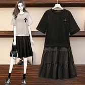 洋裝拼接裙子中大尺碼M-4XL短袖連身裙女中長款遮肚子寬鬆大碼純棉裙子4F101-8898.胖妹大碼