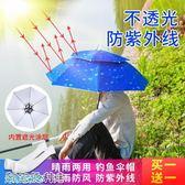 傘帽頭戴傘釣魚傘帽頭頂式雙層折疊雨傘防曬防雨遮陽大號頭帶式傘 阿宅便利店