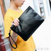 軟皮時尚男士手拿包潮男簡單時尚手包韓版信封包手拿包潮流新款 名購居家
