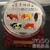 新年擺件 2021牛年大銀章彩色1公斤生肖牛禮物擺件 牛紀念幣收藏品工藝禮品 快速出貨