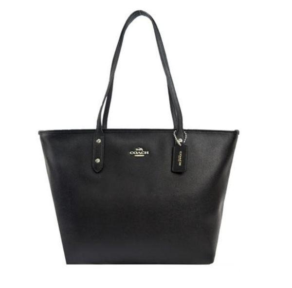 COACH 馬車 LOGO 素面防刮皮革托特包(黑) 女生包包 品牌女包 側背包 手提包 大包 COACH包