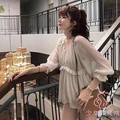 夏雪紡衫設計感溫柔風上衣女小衫【少女顏究院】
