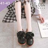 大尺碼女鞋-凱莉密碼-韓版復古百搭大蝴蝶結低跟樂福皮鞋4cm(41-43)【APQ-10】黑色