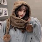 毛球毛線帽子女秋冬季可愛百搭加厚保暖圍巾一體帽冬天針織帽韓版 coco