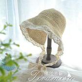 蘿莉身軟妹小清新蕾絲花邊綁帶漁夫帽 夏季出游沙灘遮陽草帽子女  提拉米蘇