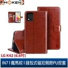 【默肯國際】IN7 瘋馬紋 LG K42 (6.6吋) 錢包式 磁扣側掀PU皮套 吊飾孔 手機皮套保護殼