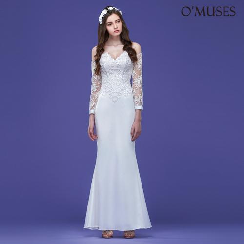 OMUSES V領蕾絲袖魚尾伴娘婚紗白色長禮服