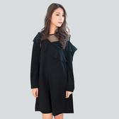 黑色洋裝--性感高雅網紗斜肩拼接荷葉口袋寬鬆修身長袖連衣裙(黑XL-3L)-A367眼圈熊中大尺碼