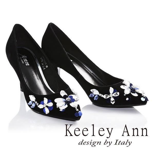 網路平台獨家6折★零碼出清★Keeley Ann璀璨時刻亮片寶石OL羊麂皮尖頭跟鞋(黑色)-Ann系列