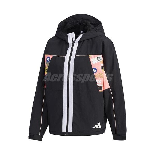 adidas 外套 UR New Windbreaker 黑 彩 女款 風衣 訓練 塗鴉印花 運動休閒 【ACS】 GF0128