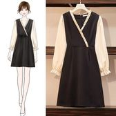 網紅款洋裝連身裙L-4XL胖MM大碼V領連衣裙秋季智熏裙法式復古收腰雪紡裙3F065A-602