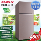 SANLUX台灣三洋 480L雙門定頻冰箱 SR-C480B1B 香檳紫 原廠配送+基本定位安裝
