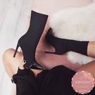 高跟短靴 撞色拼接歐美款尖頭細跟 騎士靴 中靴 踝靴*KWOOMI-A111