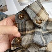 磨毛格子襯衫女設計感小眾百搭寬鬆復古港味內搭長袖襯衣【愛物及屋】